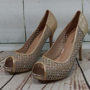 Your Party Shoes Lacey Gold Crystal Glitter NWOT